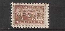 2556-SELLO FISCAL 1930 CAJA PENSIONES VEJEZ AHORRO BARCELONA 1 CENTIMO.ANTIGUO S