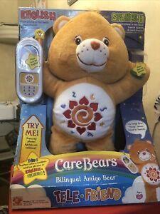 Talk n Learn 2005 Bilingual Care bear Amigo Bear with phone NIB BOX HAS SME WEAR