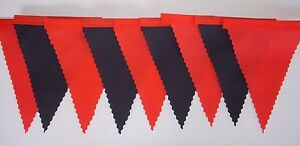 MAN UTD RED & BLACK MINI FOOTBALL FABRIC BUNTING BEDROOM PARTY DEORATION 3mt +