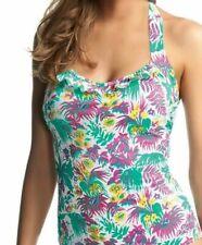 Freya Tankini Top Girl Friday White Pink Green Size 30F Halter Neck Bra 3612 New