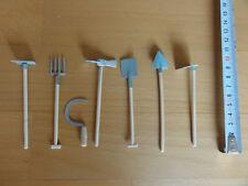 Miniatur 7 Teile  Holz und teils Metall Garten Werkstatt Werkzeug Set