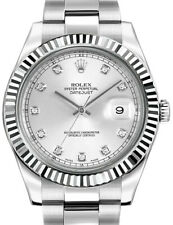 Rolex Datejust II Steel 18k White Gold & Diamond 41mm Watch Box/Papers 116334