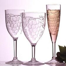Embossed Grape Acrylic 6 oz Stemware Set of 6 Champagne Flutes