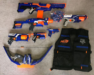 NERF Gun / Blaster Bundle 7 Blasters + 60 Darts, Tactical Vest Nerf Bundle