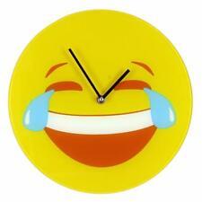 "Emotiworld Large 30cm Glass Quartz Wall Clock ""Crying Laughing"" W7726"
