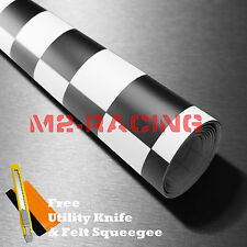 "*12""x60"" Black White Checker Racing F1 Auto Car Vinyl Wrap Sticker Decal Sheet"