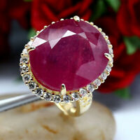 NATURAL 15 X 18 mm. OVAL RED RUBY & WHITE CZ RING 925 STERLING SILVER