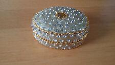 SCATOLA INDIANA CONTENITORE PORTAGIOIE in metallo e perline glitterate Ovale