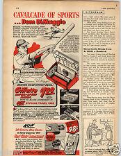 1950 PAPER AD Razor Gilette Dom DiMaggio Little Professor Facsimile Signature