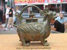 China Dynasty old Pure Bronze Monkey ancient wild beast Jar Crock Wine Pot