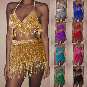 Sequin Tassel Belly Costume Suit Dance Hip Scarf Wrap Mini Skirt Vest Tops Club