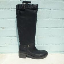 Miss Sixty Leather Boots Size UK 4 Eur 37 Womens Buckles Pull on Black Boots