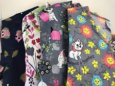 Lot of 4 Scrub Tops Women's Sm 2 Disney Aristocats Dalmatians Owl Pediatrician