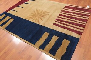 """5'7"""" x 8'2"""" Hand Knotted Modern Abstract Wool Tibetan Area Rug Contemporary Tan"""