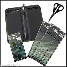 18 X Carp Fishing Hair Rigs Sizes 6 8 10 + Carp Rig Wallet + Baiting Needle Set