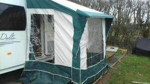 Bradcot Portico 230 Green Porch awning Alloy Poles + Curtains VGC