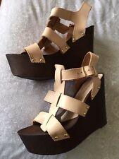 Miss Selfridge Real Chunky Leather Wedge Heel Shoes Sandals Size U.K. 6 Eu 39