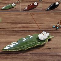 Leaf Copper Incense Burner Stick Ash Catcher Home Holder Buddhist Temple Decor ~