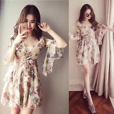 Summer Korean Women Chiffon Flare Sleeve A Line Slim Boho Tunic Beach Maxi Dress