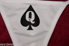 Queen Of Spades / Hotwife Sexy Thong / Underwear BBC, Cuckold, White Black Logo