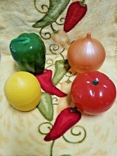 Hutzler Plastic Food Storage Container Set of 4 Onion Tomato Bell Pepper Lemon