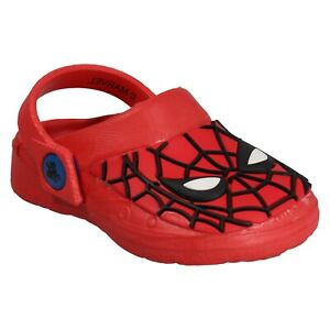BOYS MARVEL SPIDERMAN  SPIDEY HEAD CROGG BEACH SLING CLOGS SANDALS MULES UK 6