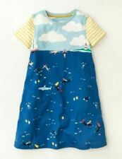 Age 4-5 Years Girls Mini Boden Short Sleeve Cotton Jersey Dress Ocean Sea Print