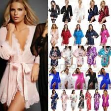 Womens Lady Silk Satin Kimono Robe Wrap Bridesmaid Bathrobe Dress Gown Sleepwear
