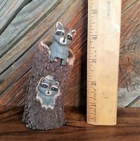 Mother And Baby Raccoon Hand Carved in Elk Antler Art - Miniature Figurine