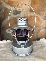 """HANDLAN ST LOUIS C.T.& E.S. Co Utility Lantern / Embossed """"Handlan"""" Red Globe"""