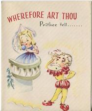 VINTAGE MEDIEVAL COSTUME ROMEO JULIET PARODY GET WELL GREETING CARD ART PRINT