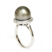 Tahitian Pearl Diamond  Ring 13 MM  AAA Flawless 18kt gold