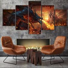 Castle in dragon fire 5 PCs Canvas Wall Art Poster Print Picture Home Decor