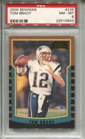 2000 Bowman Football #236 Tom Brady Rookie Card RC Graded PSA Nm Mint 8 Patriots