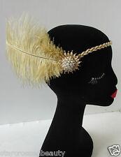 Années 1920 crème et or perle vintage autruche Plume headpiece tambour bandeau question 24