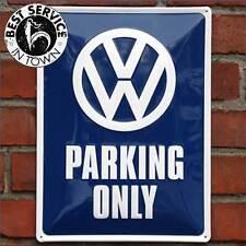 """ORIGINALE VW Targa di latta - """" Parking Only """" - Blu - AUTO - Parcheggio - Retro"""