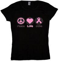 Peace love cure breast cancer awareness pink ribbon ladies tee shirt t-shirt top
