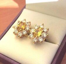 Diamante Oval Citrino Amarillo & Sim Stud Pendientes 18k oro lleno, en Caja Ciruela UK