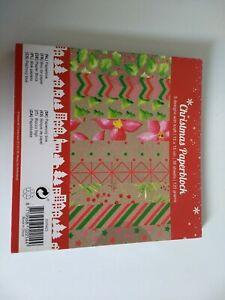 CHRISTMAS PAPERBLOCK 36 SHEETS 9 DESIGNS KRAFT/15X15 CM NEW (A)