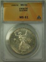 1908 Austria 5 Corona Silver Coin ANACS MS-61