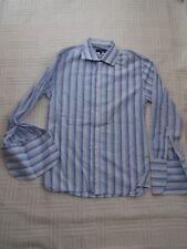 "Peter Werth  size 2  should fit  38"" chest     BLUE  STRIPE  D/CUFF COTTON SHIRT"
