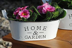 "Metalltöpfe,weiß,""Home & Garden""frische Frühlingsdeko,oval,26cm,2er Set"