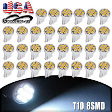 30X White T10 Side Wedge 8SMD LED Light Bulbs W5W 194 168 2825 501 192 158