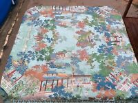 Vintage Brocaded Flowers Silk Embroidered Table Cloth 53 X 55 For Repair N1