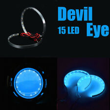 2x Car Ice Blue LED Devil Demon Eyes COB Light Ring Headlight Universal Lamp