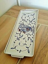 Hand Painted Pottery Tray From Portugal With Rooster