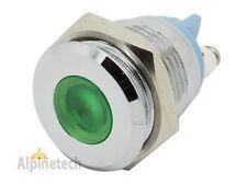 """PL16-G ATI 16mm 5/8"""" Green 12V  LED Metal Indicator Pilot Dash Light Lamp"""