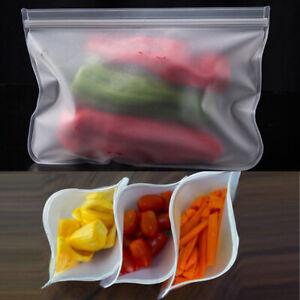 Reusable Thick Silicone Food Storage bags Zip Lock Freezer bag Leak Proof S M L