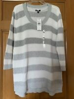 NEW TOMMY HILFIGER STRIPED LONG-SLEEVED WOMEN'S KNIT GRAY & WHITE SWEATER SZ XXL