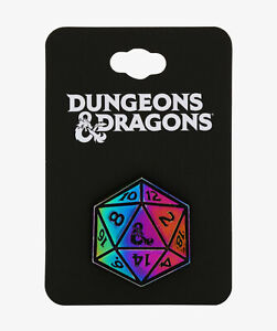 Dungeons & Dragons 20-SIDED DICE D20 RAINBOW METAL ENAMEL PIN New Bioworld D&D